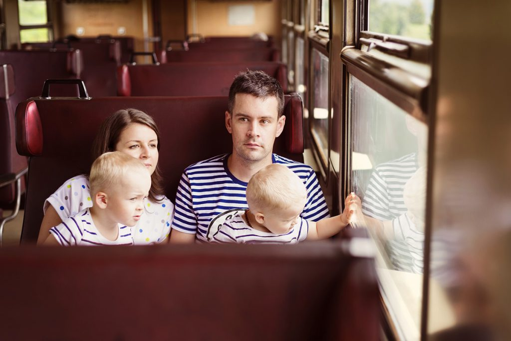 Family on a train