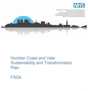 Cover for the Humber Coast and Vale Sustainability and Transformation Plan
