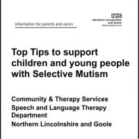 Cover from the NHS document Top Tips to support children and young people with selective mutism