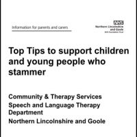 Cover from the NHS document Top Tips to support children and young people who stammer