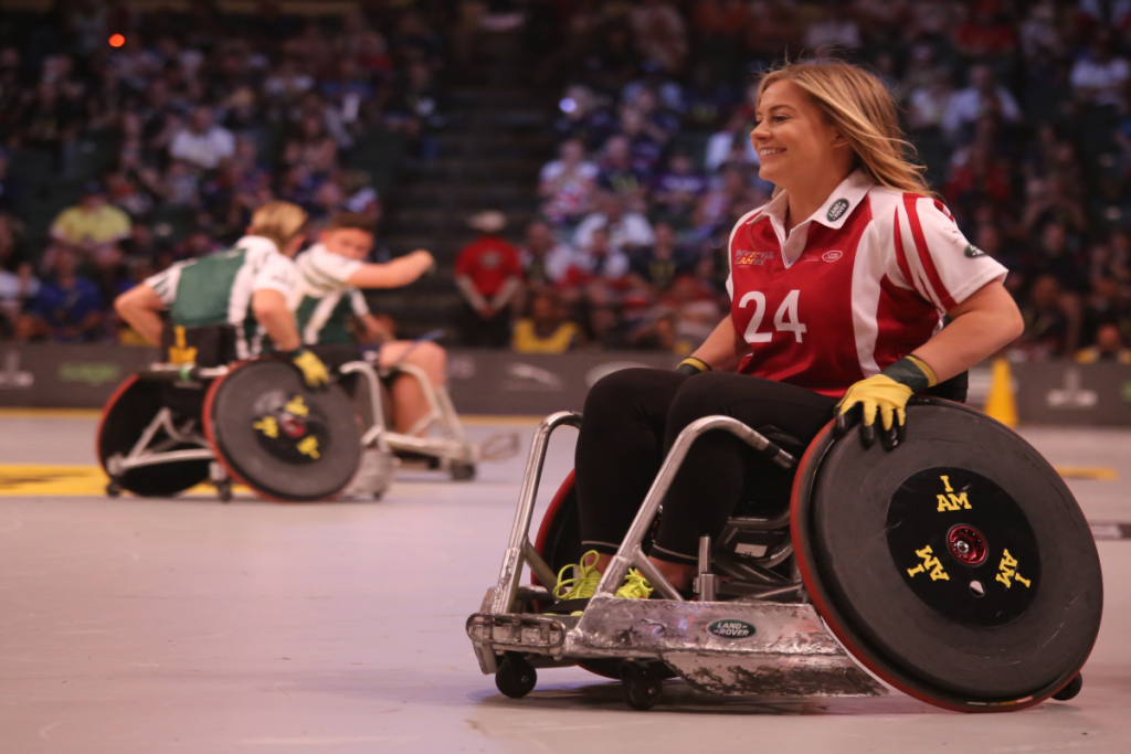 girl playing wheelchair sport