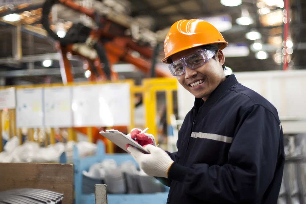 Young person working in a factory